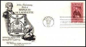 US 1097 Lafayette Masonic U/A FDC
