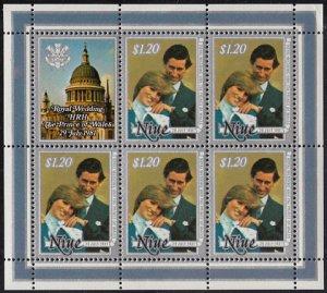 Niue 1981 MH Sc #342 Sheet of 5, label $1.20 Charles, Diana Royal Wedding