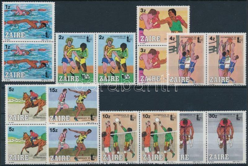 Congo (Kinshasa) Stamp OLYMPHILEX Stamp Exhibition 85 set on pairs MNH WS221610