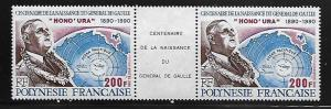 FRENCH POLYNESIA 543 MNH CHARLES DE GAULLE, BIRTH, GUTTER PAIR 1990