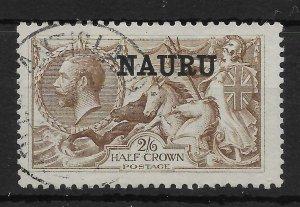 NAURU SG25 1919 2/6 PALE BROWN BW SEAHORSE USED