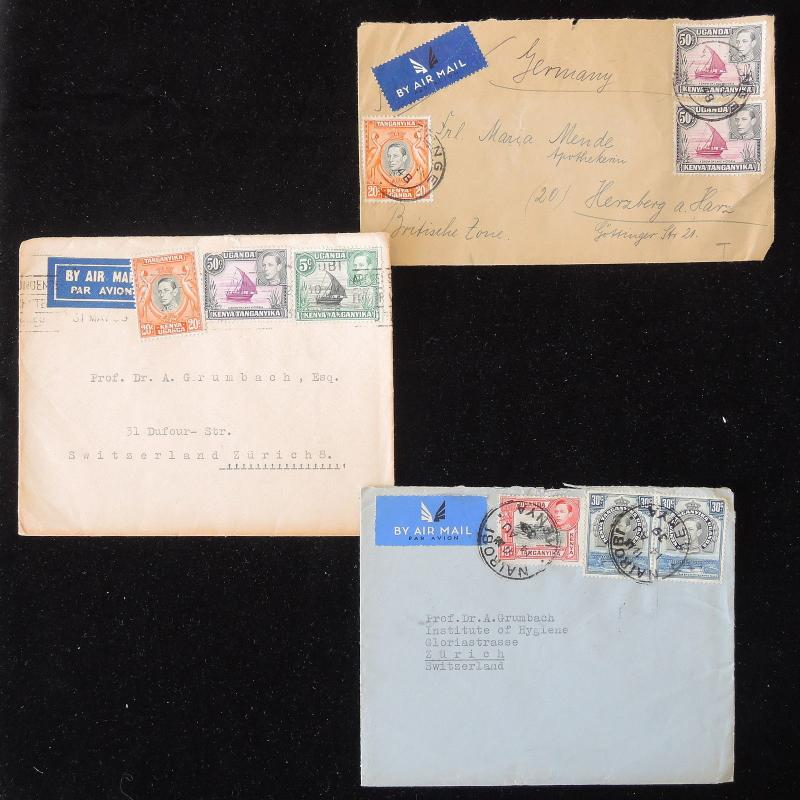 ZS-Y764 BRITISH KUT - Covers, 1939, Airmail To Switzerland, Lot Of 3