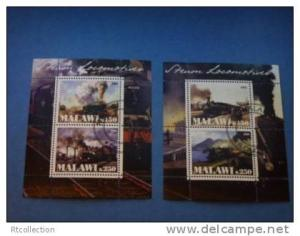 Malawi 2009 - 2 Mini Sheet Train Rail Locomotive Stamps CTO
