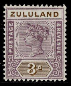 SOUTH AFRICA - Zululand QV SG23, 3d dull mauve & olive-brown, LH MINT.
