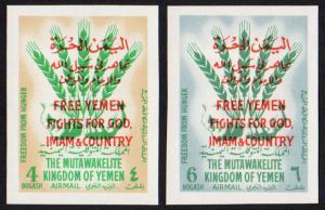 Yemen (Kingdom) Mi #46-47B set/2 imperf mnh 1963 Free Yemen, UN Freedom Hunger