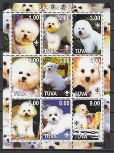 Touva, 2000 Russian Local. Bichons on a sheet of 9.