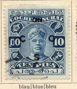 Cochin 1918-22 Early Issue Fine Used 10p. Optd 322451