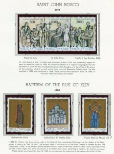 VATICAN CITY 1988  COMPLETE YEAR SET STAMPS MINT NH ON WHITE ACE ALBUM PAGES