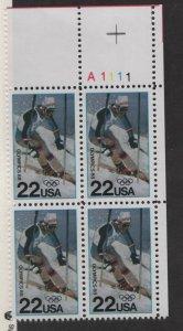 US, 2369, MNH, PLATE BLOCK, 1988, 1988 WINTER OLYMPICS, CALGARY