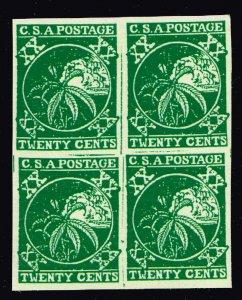US STAMP - CSA 20C GREEN Confederate States MODERN REPRINT STAMP MNH Blk of 4
