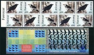 Faroe 287-288a booklet,MNH.Michel 283-284 MH 9. Birds 1995.Corvus Corax.