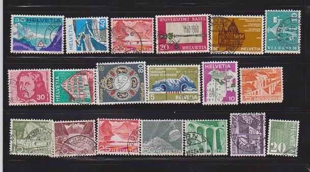 SWITZERLAND DIFFERENT STAMPS USED (19) LOT#340