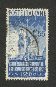 ITALY - USED STAMP, 55 L - Radio Conference - 1950.