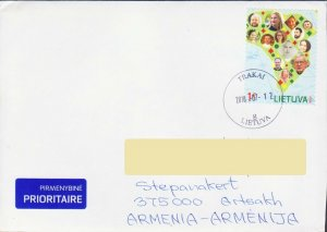 LITHUANIA MAP WORLD AFRICA AIR MAIL COVER TO ARTSAKH KARABAKH ARMENIA R17979