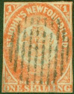 Newfoundland 1860 1s Orange-Vermilion SG15 Good Used Example CV £11,000