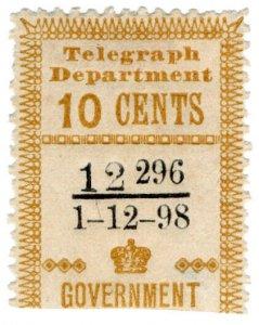 (I.B) Ceylon Telegraphs : Provisional 10c (1898)
