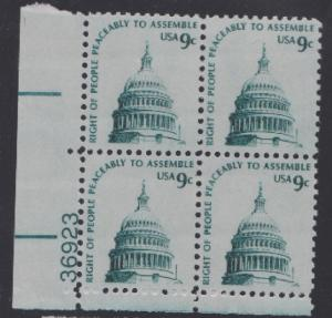 1591 Right to Assemble MNH Plate block - #36923 LL shinny gum