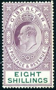 GIBRALTAR-1911 8/- Purple & Green Sg 74 LIGHTLY MOUNTED MINT V29997
