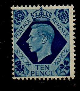 Great Brirain Sc 247 1939 10d royal blue George VI stamp mint