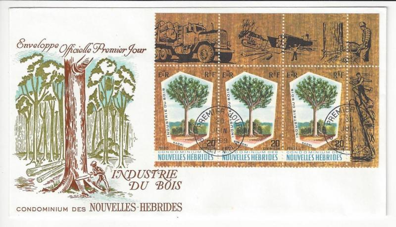 1969 British New Hebrides First Day Cover- Scott # 132 - Timber Industry - (ZZ1)