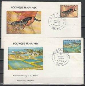 Fr. Polynesia, Scott cat. 331-332. Fish Hatchery & Crayfish. First day covers.