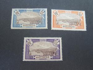 French Martinique 1908 Sc 74,76,81 MH