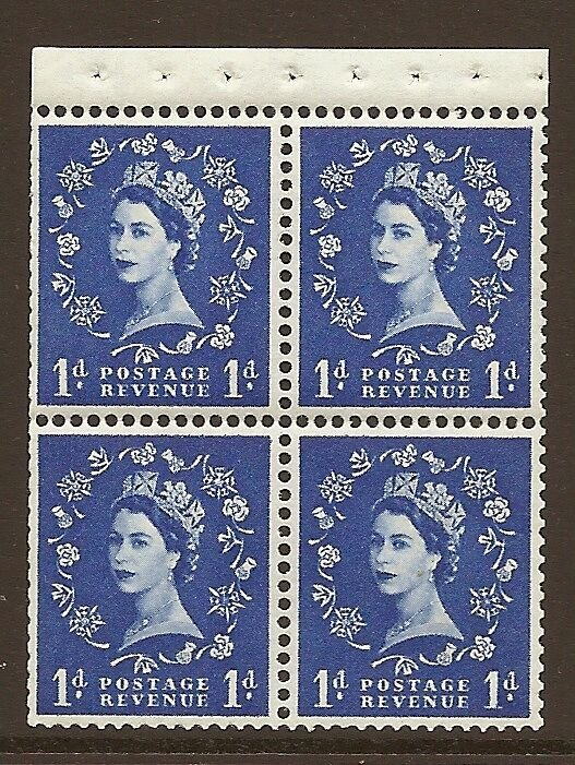 SB34 1d Crowns left Wilding booklet pane perf type I UNMOUNTED MNT/MNH