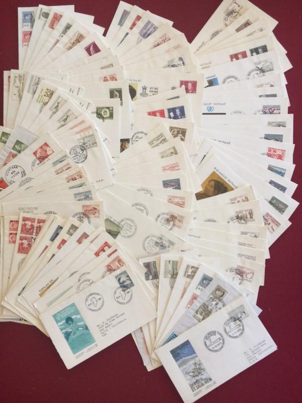 Greenland Besutiful collection of 100 cacheted FDCs 1960s through 1980s Bargain