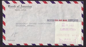 JAPAN NCR METER: #PO1 KITAHAMA to SWEDEN 1953 Airmail, Regular Size, TOP NOTCH