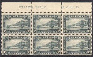 Canada #156 MINT 3NH-3LH BLOCK OF 6 - Inscription OTTAWA NoA -2  986-D C$720.00
