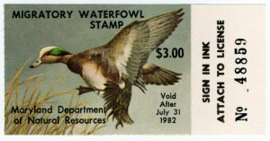 (I.B) US Revenue : Duck Hunting Stamp $3 (Maryland)