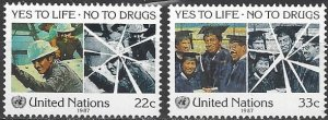 United Nations 497-8  MNH  Yes to Life, No to Drugs