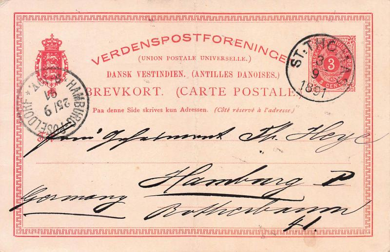 Danish West Indies, Scott #UX3 Used in 1891 from St. Thomas, DWI, to Germany
