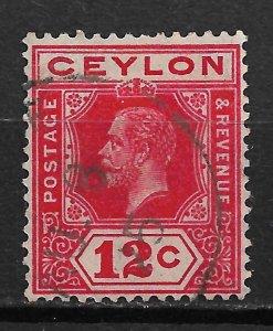 1921 Ceylon 234 King George V 12c used.