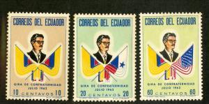 ECUADOR 691-693 MNH SCV $2.60 BIN $1.30 POLITICIAN