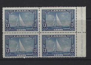 CANADA - #216 - 13c ROYAL YACHT BRITANNIA PLATE #2 BLOCK (1935) MNH