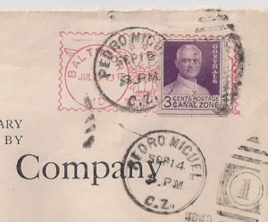 CANAL ZONE: 3c Goethals WET print #117c used over METER STP on cover to USA 1943