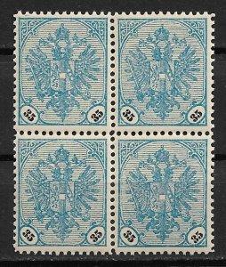 1901 BOSNIA & HERZEGOVINA  Sc27 Coat of Arms 35h MNH block of 4