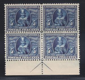 US Sc 330 MNH. 1907 5c Jamestown Exposition, arrow block of 4, fresh, bright