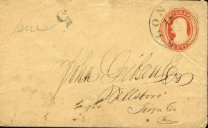 US LONDON, CT 4/2?/18?? 3C STATIONERY COVER TO HILLSBORO,PA DUE 5 CENTS AS SHOWN
