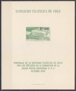1974 Chile 796/Bb 100 years of UPU Building, Provisional, 30,00 €