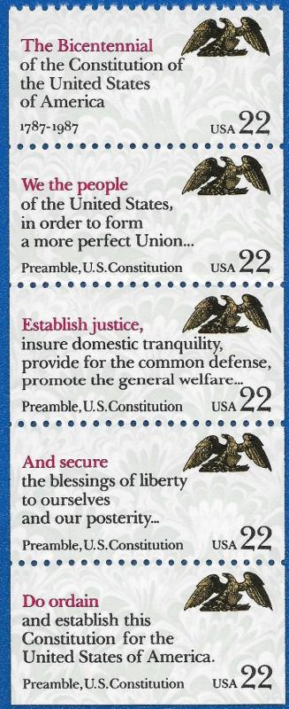 1987 22c Drafting of Constitution, Booklet Pane of 5 Scott 2355-59 Mint F/VF NH