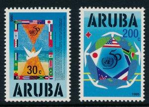 Aruba 116-7 MNH 50th Anniv of the UN, Flags, Doves