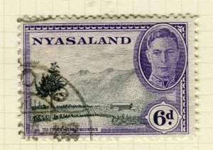 NYASALAND; 1945 early GVI issue fine used 6d. value