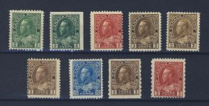9x Canada WW1 Admiral Stamps #106-107-107bs 3x108-117-129-184 GV = $125.00