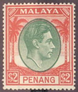 1949 Malaya Penang $2 Green & Scarlet, SG 21, MLH