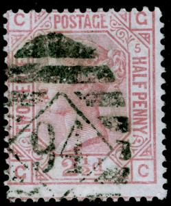 SG141, 2½d rosy mauve PLATE 5, USED. Cat £80. GC