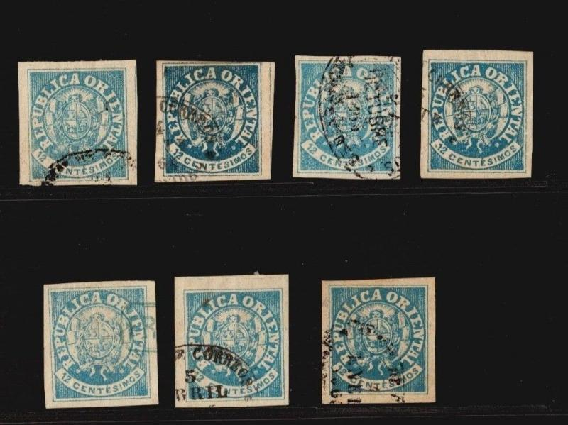 Uruguay classic coat of arms #23 x7 used cancel shades investment in