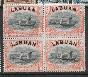 LABUAN (P2401B) 8C BOAT SG 94A BL OF 4  MNH