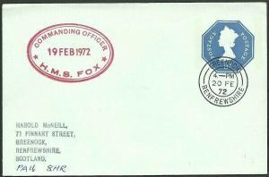 GB SCOTLAND 1972 3p envelope HMS FOX  navy ship cachet - Greenock cds......47969